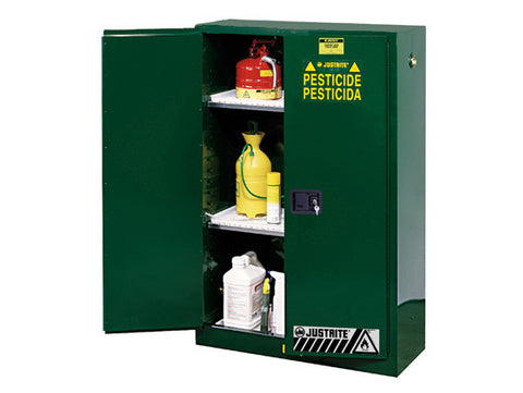 Sure-Grip® EX Pesticides Safety Cabinet, Cap. 45 gallons, 2 shelves, 2 manual-close doors - SolventWaste.com