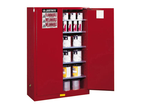 Sure-Grip® EX Combustibles Safety Cabinet for paint and ink, Cap. 60 gal., 5 shelves, 2 m/c doors - SolventWaste.com