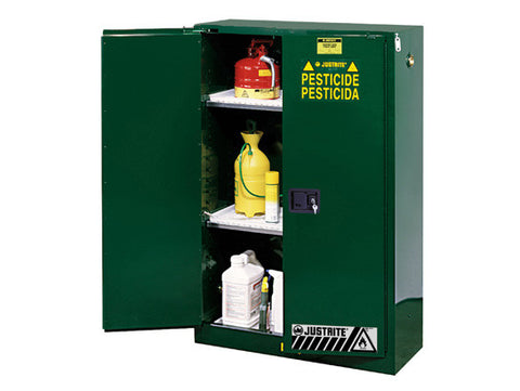 Sure-Grip® EX Pesticides Safety Cabinet, Cap. 45 gallons, 2 shelves, 2 self-close doors - SolventWaste.com