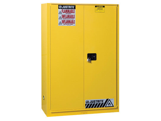 Sure-Grip® EX Flammable Safety Cabinet, Cap. 45 gallons, 2 shelves, 1 bi-fold s/c door - SolventWaste.com