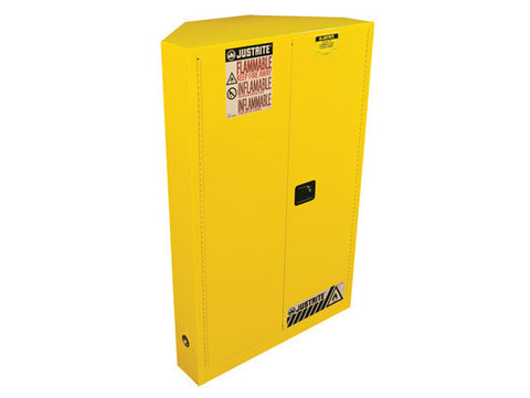 SURE-GRIP® EX CORNER FLAMMABLE SAFETY CABINET, CAP. 45 GALLONS, 2 SHELVES, 2 M/C DOORS - SolventWaste.com