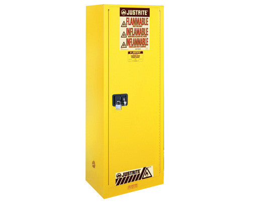 Sure-Grip® EX Deep Slimline Flammable Safety Cabinet, Cap. 54 gallons, 3 shlves, 1 s/c door - SolventWaste.com