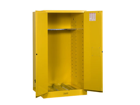Sure-Grip® EX Vertical Drum Safety Cabinet and Drum Support, Cap. 55 gal., 1 shelf, 2 m/c doors - SolventWaste.com