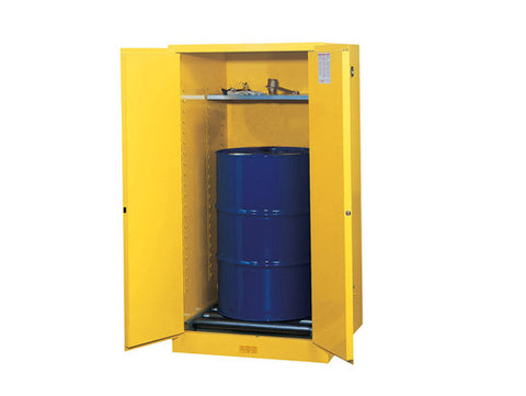 Sure-Grip® EX Vertical Drum Safety Cabinet and Drum Rollers, Cap. 55 gal., 1 shelf, 2 m/c doors - SolventWaste.com