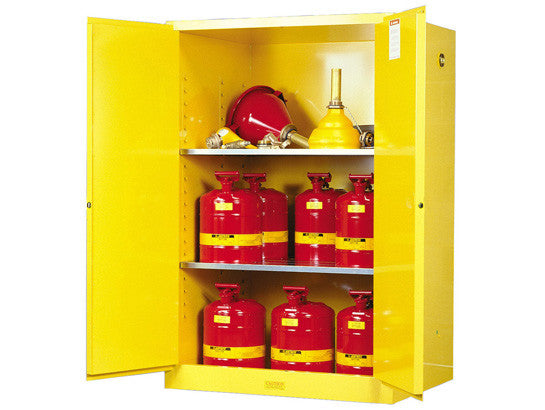 Sure-Grip® EX Flammable Safety Cabinet, Cap. 90 gallons, 2 shelves, 2 manual-close doors - SolventWaste.com