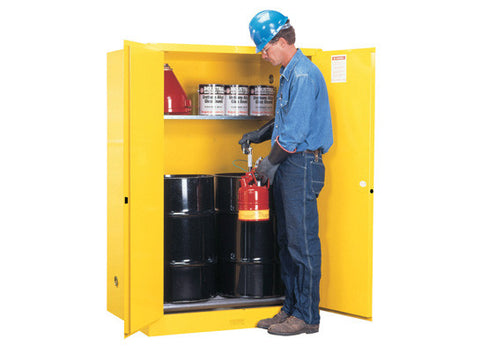 Sure-Grip® EX Vertical Drum Safety Cabinet and Drum Rollers, Cap. 60 gal., 1 shelf, 2 m/c doors - SolventWaste.com