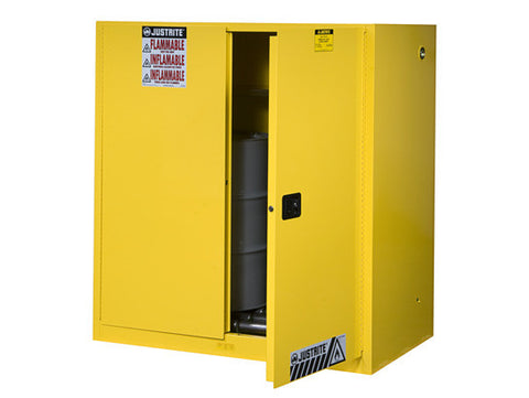 Sure-Grip® EX Vertical Drum Safety Cabinet and Drum Rollers, Cap. 60 gal., 1 shelf, 2 s/c doors - SolventWaste.com