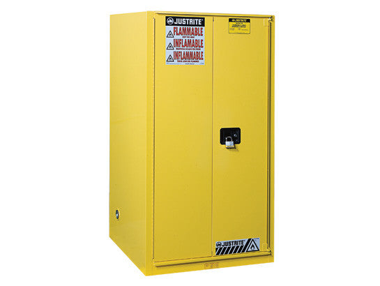 Sure-Grip® EX Flammable Safety Cabinet, Cap. 90 gallons, 2 shelves, 1 bi-fold s/c door - SolventWaste.com