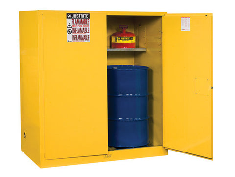 Sure-Grip® EX Vertical Drum Safety Cabinet and Drum Support, Cap. 110 gal., 1 shelf, 2 m/c doors - SolventWaste.com