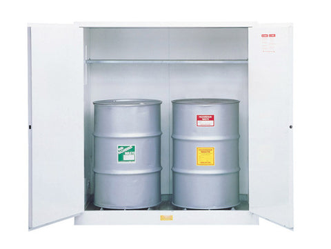 Flammable Waste Vertical Drum Safety Cabinet, Steel, Cap. 110-gallons, 1 shelf, 2 m/c doors - SolventWaste.com