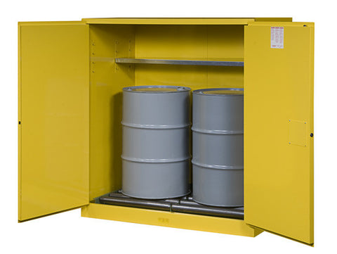 Sure-Grip® EX Vertical Drum Safety Cabinet and Drum Rollers, Cap. 110 gal., 1 shelf, 2 s/c doors - SolventWaste.com