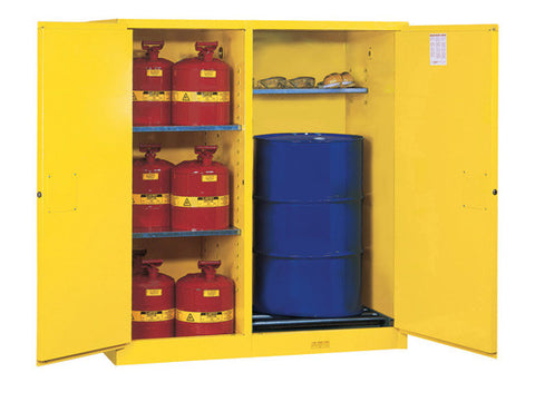 Sure-Grip® EX Dbl-Duty Safety Cabinet w/Drm Rlrs, partition/store drum/can, 3 shelves, 2 m/c doors - SolventWaste.com
