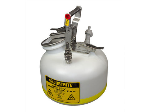 "Quick-Disconnect Disposal Safety Can with fittings for 3/8"" tubing, 2 gal., polyethylene - SolventWaste.com"
