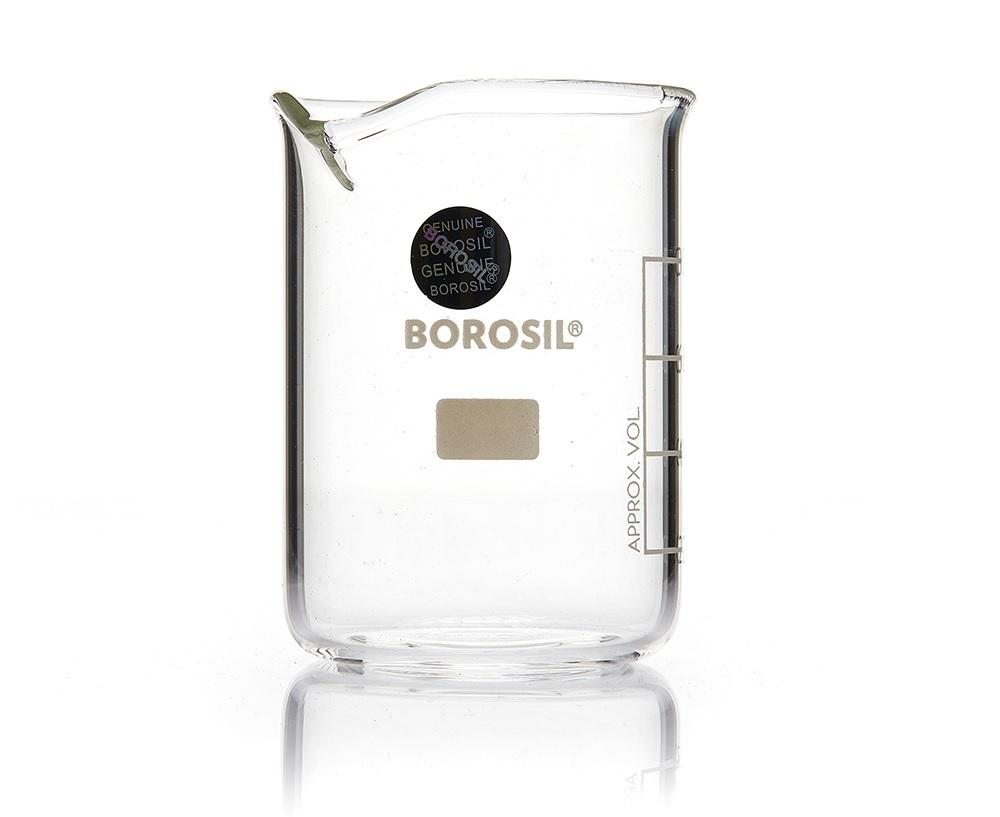Borosil® Low-Form Glass Beaker with Spout - 25mL - CS/60 - SolventWaste.com