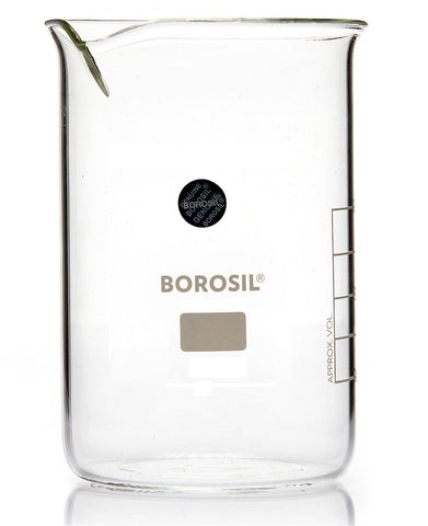 Borosil® Tall-Form Glass Beakers with Spout - 800mL - CS/20
