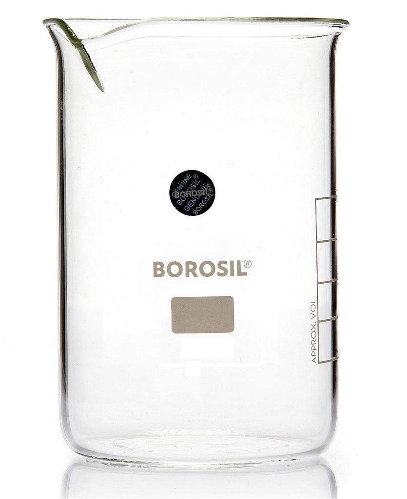 Borosil® Tall-Form Glass Beakers  with Spouts - 600mL - CS/20 - SolventWaste.com