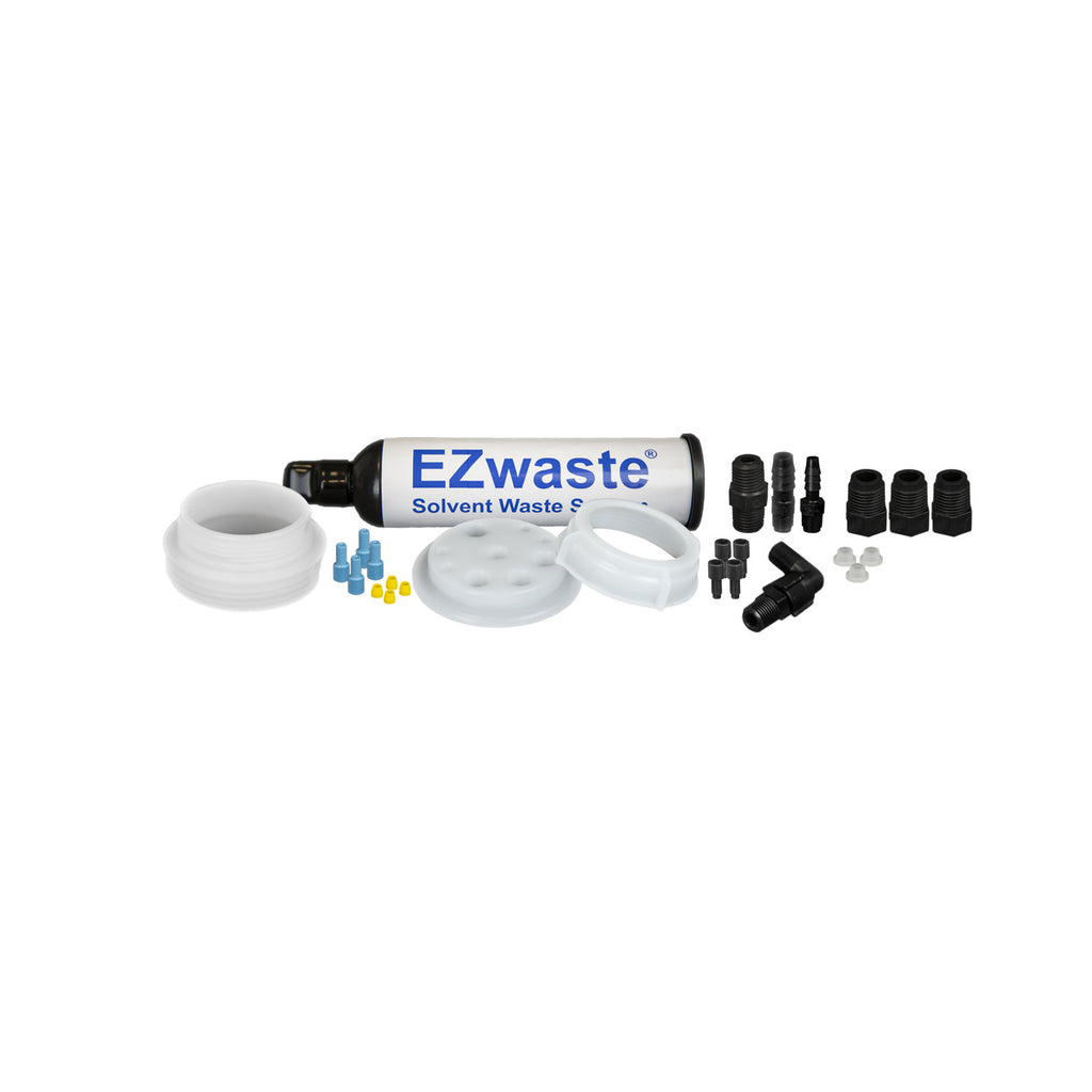 "EZWaste® UN/DOT Filter Kit, VersaCap® 70S w/ Threaded Adapter, 4 Ports for 1/8"" OD Tubing, 3 Ports for ¼"" OD Tubing, 1 Port for 1/4"" or 3/8"" HB Adapter - SolventWaste.com"