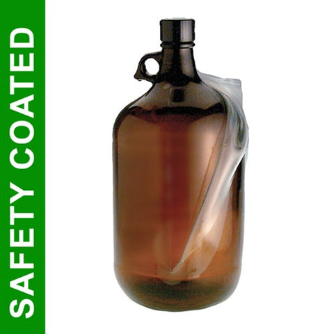 4 Liter Amber Glass Jug, Safety Coated, PTFE Lined Cap, each - SolventWaste.com
