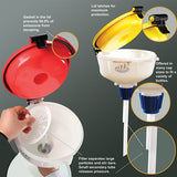 "8"" ECO Funnel with 38mm Cap adapter, yellow lid, suitable for 4L Container - SolventWaste.com"