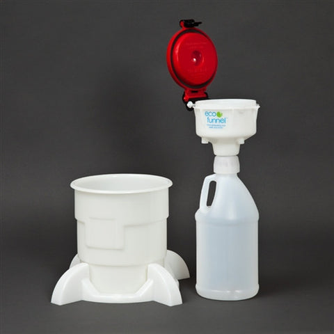 "4"" ECO Funnel System, 2 Liter Jug with Handle, Secondary Container - SolventWaste.com"