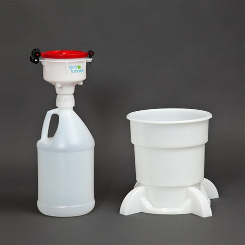"4"" ECO Funnel System, 1 gallon Jug with Handle, Secondary Container - SolventWaste.com"