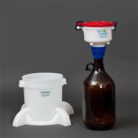 "4"" ECO Funnel System, 2 Liter Glass Bottle, Secondary Container - SolventWaste.com"