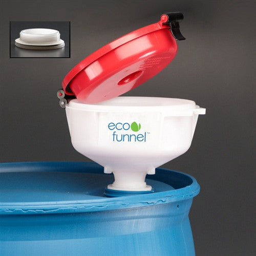 "8"" ECO Funnel with 2"" NPT fine thread cap for Drums - SolventWaste.com"