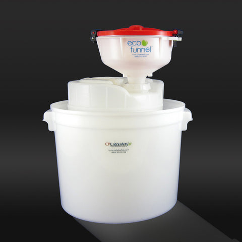 "8"" ECO Funnel System, 5 gal, 70mm Cap, Secondary Container - SolventWaste.com"