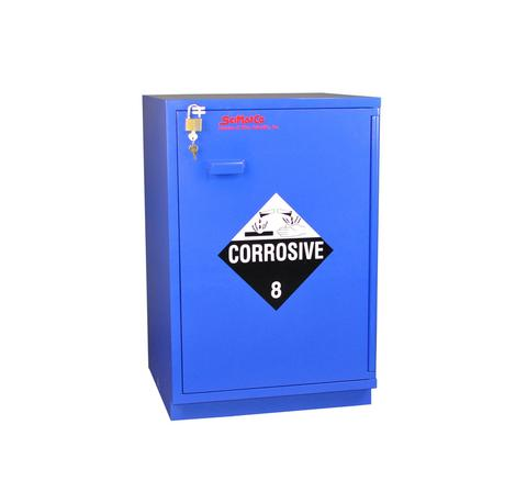 "Under-the-Counter, Corrosive Cabinet, Partially Lined, 23"", Right Hinge, Blue - SolventWaste.com"