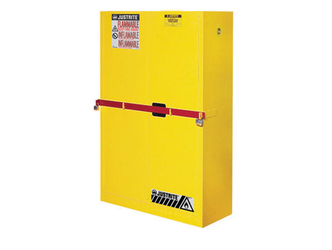 High Security Flammables Safety Cabinet w/steel bar, Cap. 45 gals., 2 shelves, 2 s/c doors - SolventWaste.com