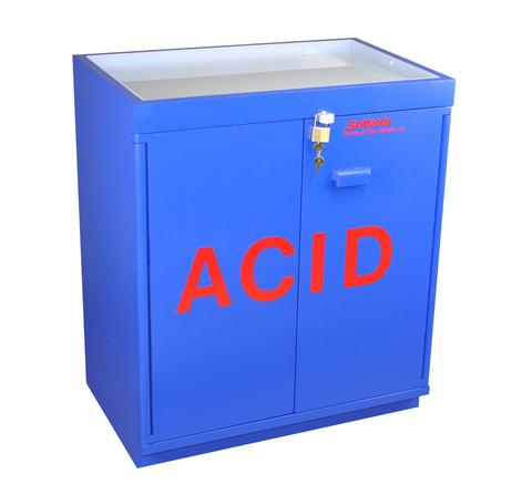 Floor Acid Cabinet, Partially Lined, Top Tray - SolventWaste.com