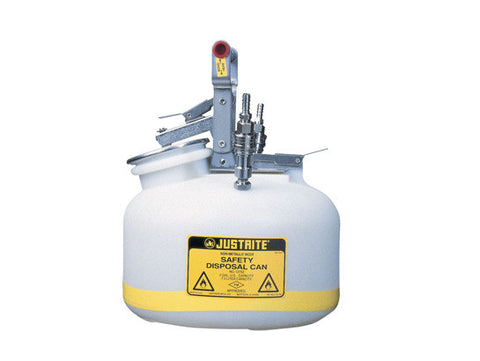 "Quick-Disconnect Disposal Safety Can, stainless steel fittings for 3/8"" tubing, 2 gal., polyethylene - SolventWaste.com"
