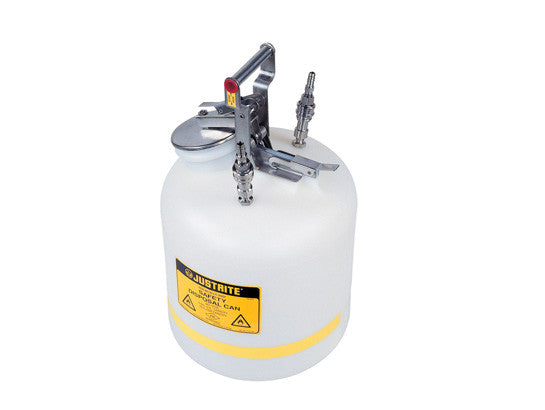 "Quick-Disconnect Disposal Safety Can, stainless steel fittings for 3/8"" tubing, 5 gal., polyethylene - SolventWaste.com"