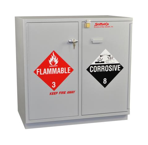 "Under-the-Counter, Combination Acid/Flammables Cabinet, Partially Lined, 35"", Self-Closing Door"