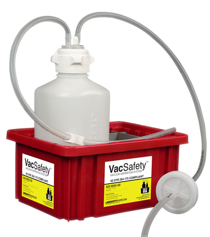 "VacSafety™, HDPE, 2L, Red Bin, 1/4"" ID Tubing - SolventWaste.com"