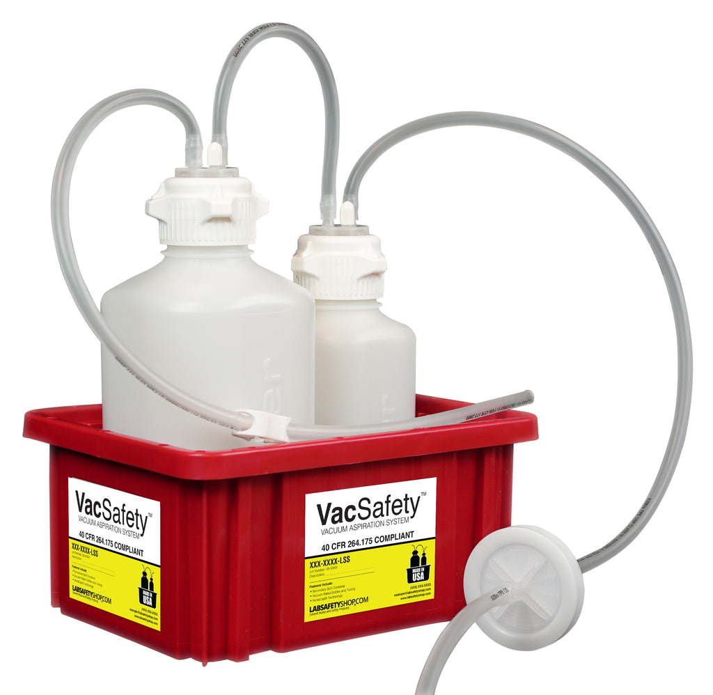"VacSafety™, HDPE, 2L + 1L, Red Bin, 1/4"" ID Tubing - SolventWaste.com"
