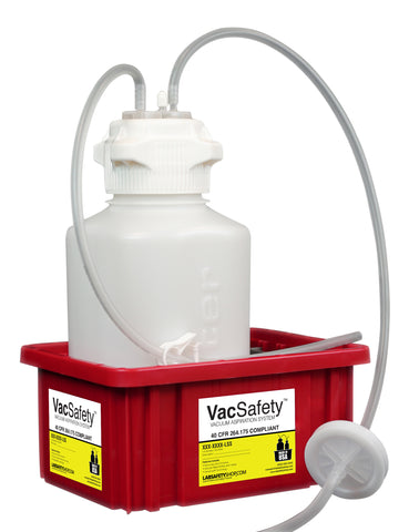 "VacSafety™, PP, 4L, Red Bin, 1/4"" ID Tubing - SolventWaste.com"