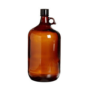 4 Liter Amber Glass Bottle with PTFE Lined Cap - SolventWaste.com