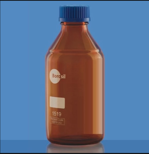 Borosil® Amber Reagent Glass Bottle with GL45 Screw Cap 2/CS - 3L/3,000ML - SolventWaste.com