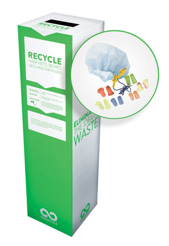 Zero Waste Recycling Box, Beard nets, Hairnets and Earplugs - Small - SolventWaste.com
