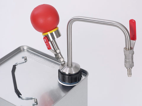 Solvent pump hand operated for tin-foil can., 60cm
