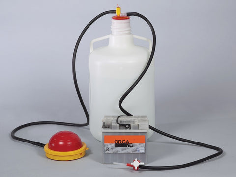 OTAL battery foot pump, PP/PVC, tube Ø 12 mm - SolventWaste.com