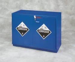 "Under-the-Counter, Corrosive Cabinet, Partially Lined, 23"", Left Hinge, Blue - SolventWaste.com"
