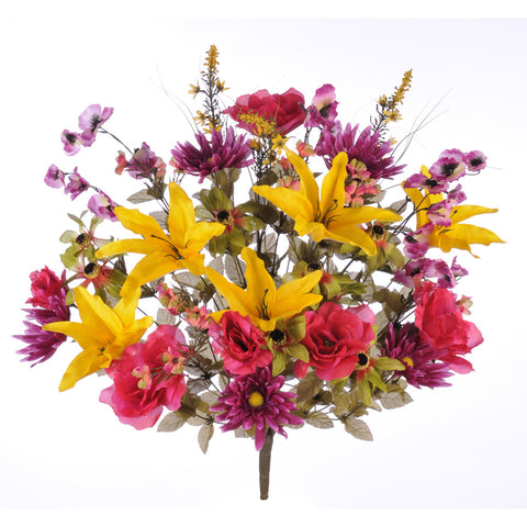 Artificial 32-inch Tiger Lily/Rose/Daisy Mixed Bush