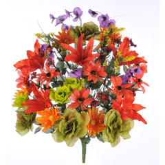 "Artificial 32"" Tiger Lily/Rose/Daisy Mixed Bush - House of Silk Flowers®  - 1"