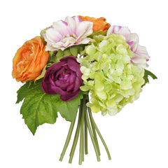 "Artificial 10"" Orange/Purple/Green Hydrangea/Rose/Dahlia Bouquet - House of Silk Flowers®  - 1"