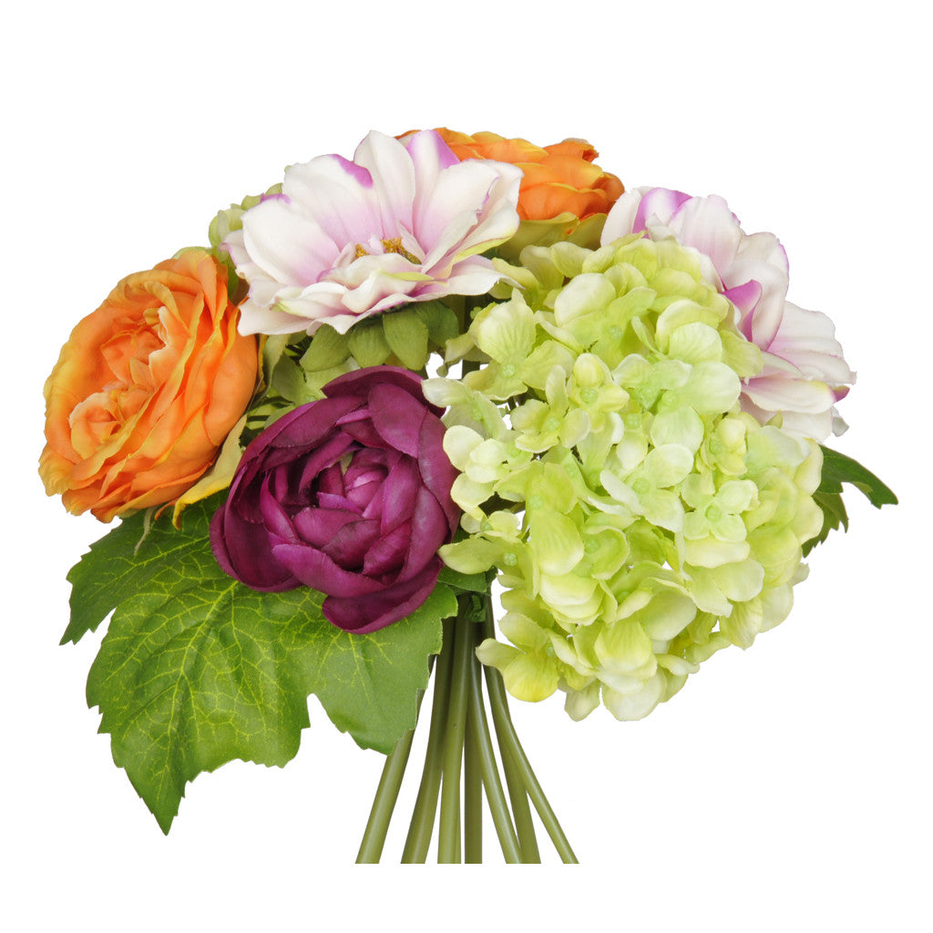 "Artificial 10"" Orange/Purple/Green Hydrangea/Rose/Dahlia Bouquet - House of Silk Flowers®  - 2"