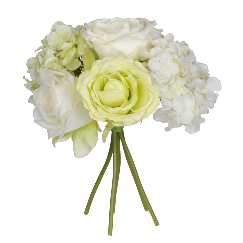 "Artificial 10"" Cream/Green Rose/Hydrangea Bouquet - House of Silk Flowers® - 1"