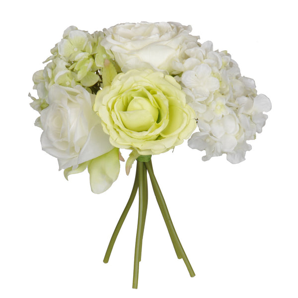 "Artificial 10"" Cream/Green Rose/Hydrangea Bouquet"