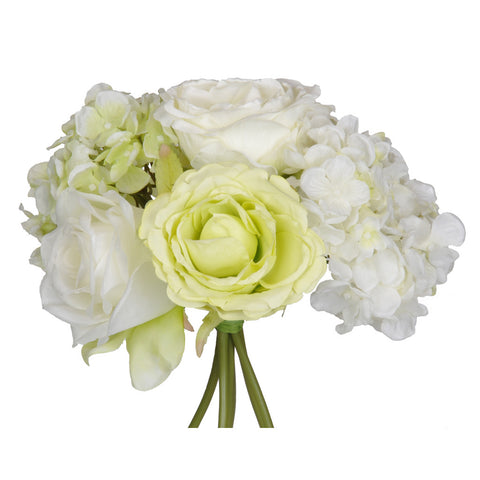 Artificial 10-inch Cream/Green Rose/Hydrangea Bouquet